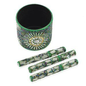 Beaded Pen Pot Set (3) Green Beaded Pens